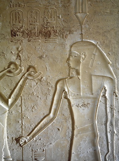 Stock Photo: 1788-10685 Egypt, Thebes, Luxor, Valley of the Kings, Tomb of Seti II, entrance relief of Ra from nineteenth dynasty