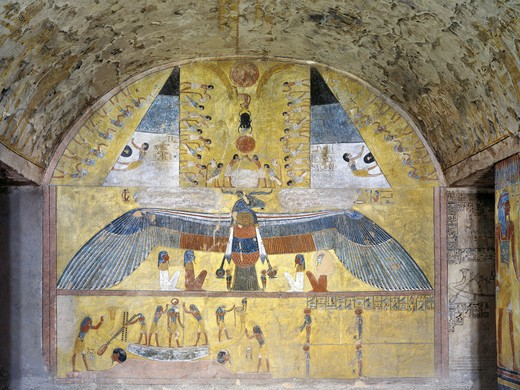Stock Photo: 1788-10695 Egypt, Thebes, Luxor, Valley of the Kings, Tomb of Tausert, mural paintings from Illustrated Book of Caverns, in Burial chamber from twentieth dynasty