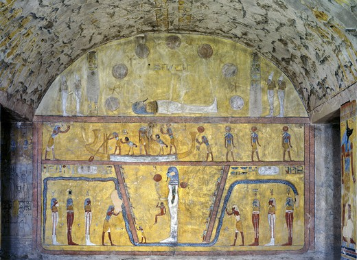 Stock Photo: 1788-10696 Egypt, Thebes, Luxor, Valley of the Kings, Tomb of Tausert, mural paintings from Illustrated Book of the Earth, in Burial chamber from twentieth dynasty