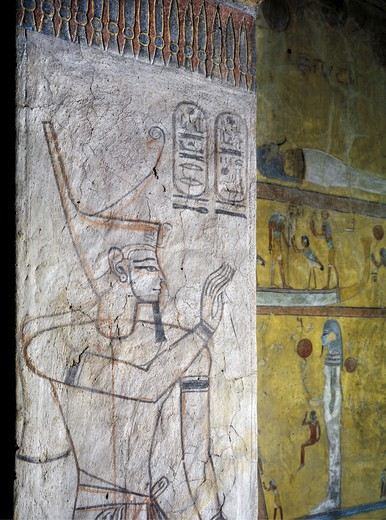 Egypt, Thebes, Luxor, Valley of the Kings, Tomb of Tausert, mural painting of Harsiesis on pillar in Burial chamber from twentieth dynasty : Stock Photo