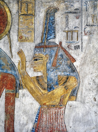 Stock Photo: 1788-10704 Egypt, Thebes, Luxor, Valley of the Kings, Tomb of Tausert, mural painting of Goddess Ma'at, from twentieth dynasty