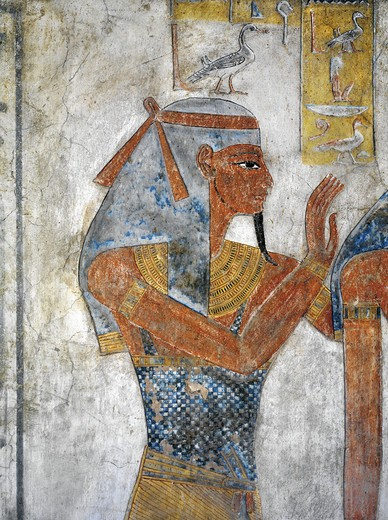 Stock Photo: 1788-10705 Egypt, Thebes, Luxor, Valley of the Kings, Tomb of Tausert, mural painting of Earth god Geb, from twentieth dynasty