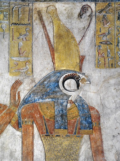 Egypt, Thebes, Luxor, Valley of the Kings, Tomb of Tausert, mural painting of Horus, from twentieth dynasty : Stock Photo