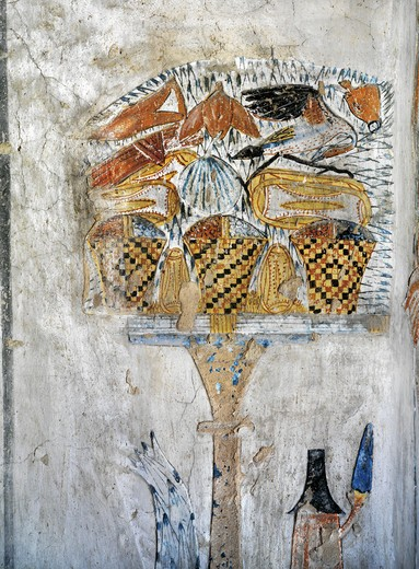 Stock Photo: 1788-10708 Egypt, Thebes, Luxor, Valley of the Kings, Tomb of Tausert, mural painting of table of offerings, from twentieth dynasty