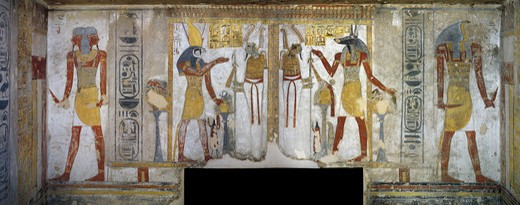 Egypt, Thebes, Luxor, Valley of the Kings, Tomb of Tausert, Expanded by Setnakht, Burial chamber, Mural paintings, Horus and Osiris; Osiris and Anubis : Stock Photo