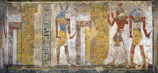 Stock Photo: 1788-10714 Egypt, Thebes, Luxor, Valley of the Kings, Tomb of Tausert, Expanded by Setnakht, Burial chamber, Mural paintings