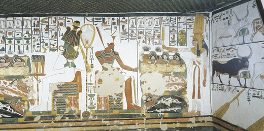 Egypt, Thebes, Luxor, Valley of the Queens, Tomb of Nefertari, Chamber 2, Mural paintings, Queen holds sekhem sceptre to consecrate table of offerings before Osiris and Atum : Stock Photo