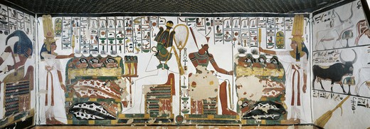 Stock Photo: 1788-10717 Egypt, Thebes, Luxor, Valley of the Queens, Tomb of Nefertari, Chamber 2, Mural paintings, Queen holds sekhem sceptre to consecrate table of offerings before Osiris and Atum