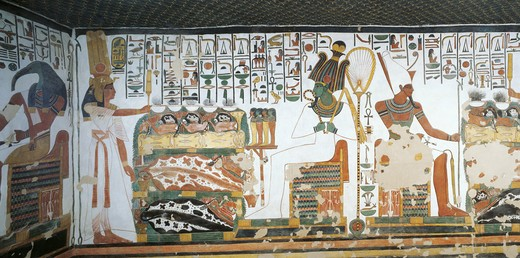 Egypt, Thebes, Luxor, Valley of the Kings, Tomb of Nefertari. Vestibule. Mural paintings : Stock Photo