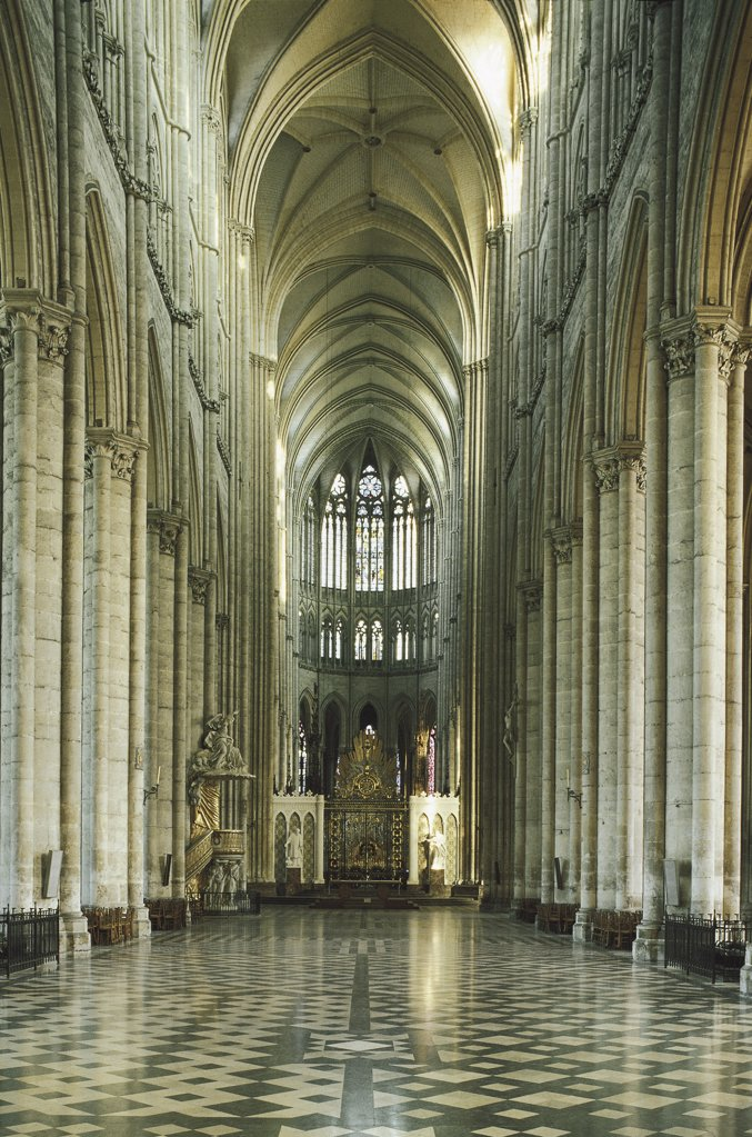 Interiors of a cathedral, Amiens, France : Stock Photo
