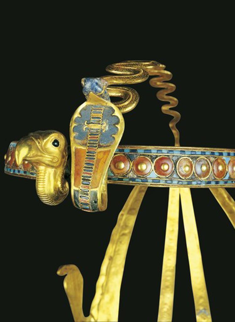 Egypt, Thebes, Luxor, Valley of the Kings, Tomb of Tutankhamon, Treasures of Tutankhamon, Royal diadem : Stock Photo