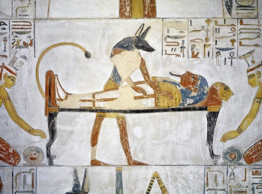Stock Photo: 1788-10770 Egypt, Thebes, Luxor, Valley of the Kings, Tomb of Siptah, mural painting of Anubis before embalmed Siptah from 19th dynasty