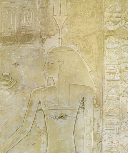 Stock Photo: 1788-10772 Egypt, Thebes, Luxor, Valley of the Kings, Tomb of Seti II, entrance relief illustrating Litany of Ra from 19th dynasty