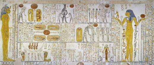 Stock Photo: 1788-10774 Egypt, Thebes, Luxor, Valley of the Kings, Tomb of Ramses VI, mural painting from Illustrated Book of Gates and Book of Caverns, from 20th dynasty