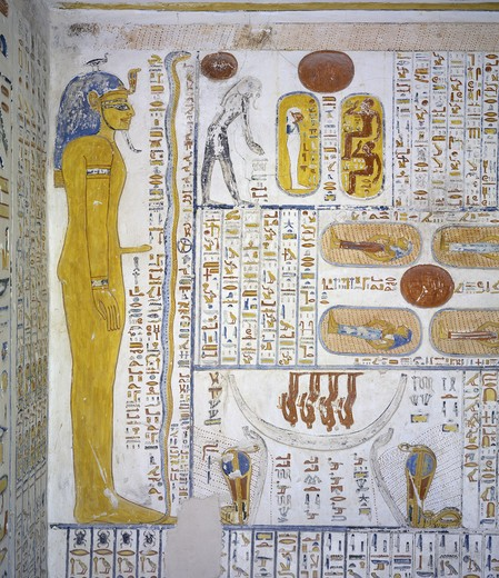 Egypt, Thebes, Luxor, Valley of the Kings, Tomb of Ramses VI, mural painting from Illustrated Book of Gates and Book of Caverns, from 20th dynasty : Stock Photo