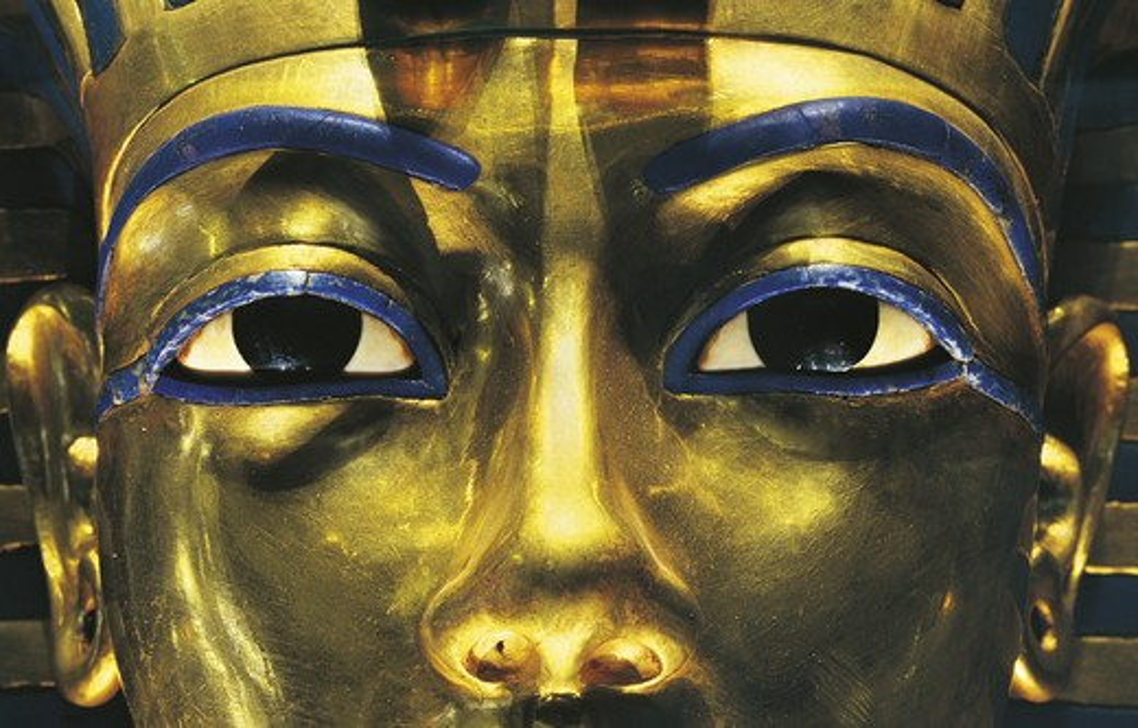 Egypt, Thebes, Luxor, Valley of the Kings, Tomb of Tutankhamon, close-up detail of Tutankhamon Pharaoh's mask, from Tutankhamon period : Stock Photo