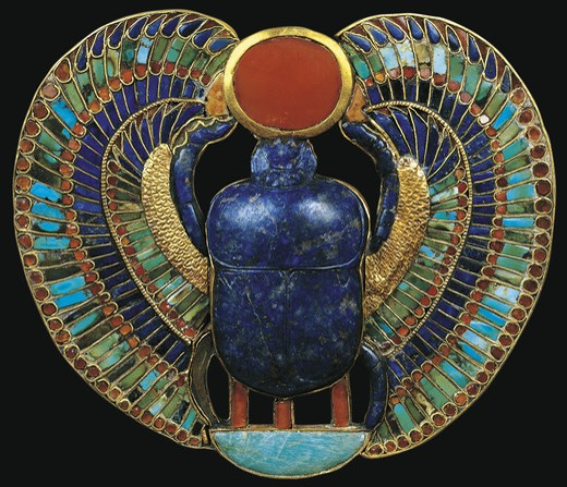 Stock Photo: 1788-10779 Egypt, Thebes, Luxor, Valley of the Kings, Tomb of Tutankhamon, Scarab beetle holding the solar disk, from Tutankhamon period