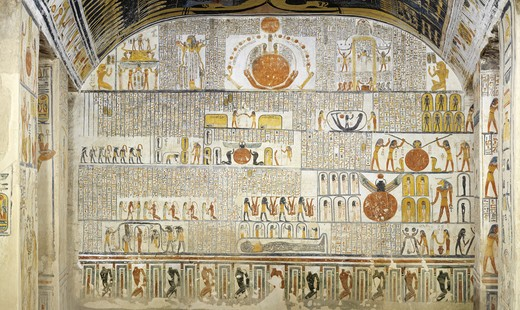 Stock Photo: 1788-10783 Egypt, Thebes, Luxor, Valley of the Kings, Tomb of Ramses VI, mural painting from Illustrated Book of the Earth, in Burial chamber from 20th dynasty