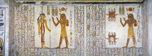Egypt, Thebes, Luxor, Valley of the Kings, Tomb of Ramses VI, mural painting from Illustrated Book of the Dead, in Burial chamber from 20th dynasty : Stock Photo