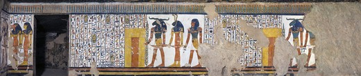 Egypt, Thebes, Luxor, Valley of the Queens, Tomb of Nefertari, mural paintings from Illustrated Book of the Dead, in Burial chamber from 19th dynasty : Stock Photo