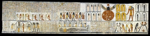 Egypt, Thebes, Luxor, Valley of the Kings, Tomb of Ramses VI, mural painting from Illustrated Book of the Earth, in Burial chamber from 20th dynasty : Stock Photo