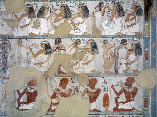 Stock Photo: 1788-10791 Egypt, Thebes, Luxor, Sheikh 'Abd al-Qurna, Tomb of steward to first Amon prophet at Karnak Djehuty, mural paintings from 18th dynasty