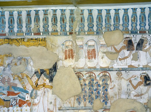 Egypt, Thebes, Luxor, Sheikh 'Abd al-Qurna, Tomb of steward to first Amon prophet at Karnak Djehuty, mural paintings from 18th dynasty : Stock Photo