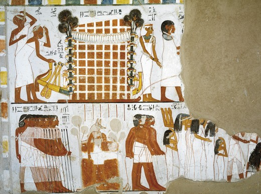 Egypt, Thebes, Luxor, Sheikh 'Abd al-Qurna, Tomb of Huy and Kener, mural paintings from 18th dynasty : Stock Photo