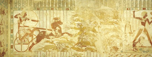 Stock Photo: 1788-10816 Egypt, Thebes, Luxor, Sheikh 'Abd al-Qurna, Tomb of royal scribe Userhat, Burial chamber, Mural paintings, Hunting scene