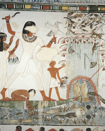Stock Photo: 1788-10823 Egypt, Thebes, Luxor, Sheikh 'Abd al-Qurna, Tomb of royal estate supervisor Menna, Burial chamber, Mural paintings, Hunting scene