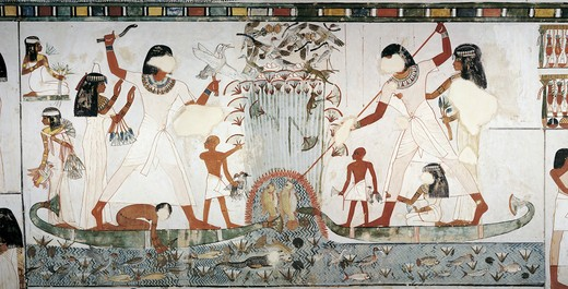 Egypt, Thebes, Luxor, Sheikh 'Abd al-Qurna, Tomb of royal estate supervisor Menna, Burial chamber, Mural paintings, Hunting scene : Stock Photo