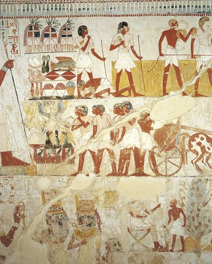 Stock Photo: 1788-10829 Egypt, Thebes, Luxor, Sheikh 'Abd al-Qurna, Tomb of royal estate supervisor Menna, Vestibule, Mural paintings, Working in fields