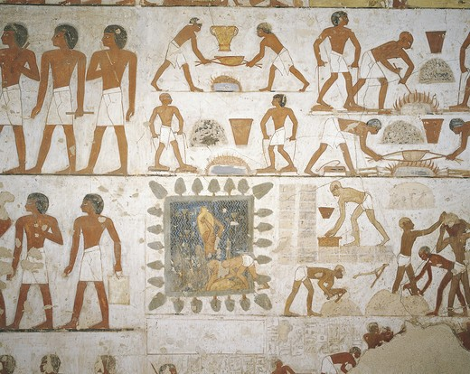 Stock Photo: 1788-10843 Egypt, Thebes, Luxor, Sheikh 'Abd al-Qurna, Tomb of city governor and vizier Rekhmire, Burial chamber, Mural paintings, Craftsmen