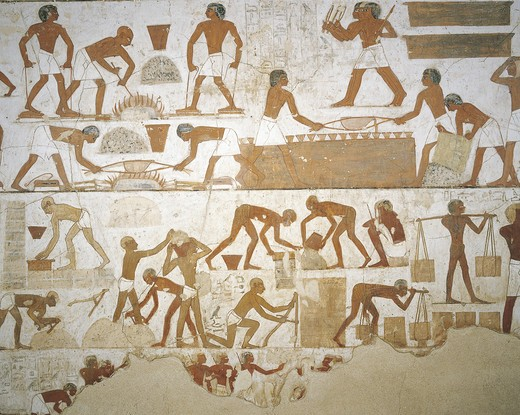 Stock Photo: 1788-10845 Egypt, Thebes, Luxor, Sheikh 'Abd al-Qurna, Tomb of city governor and vizier Rekhmire, Burial chamber, Mural paintings, Craftsmen