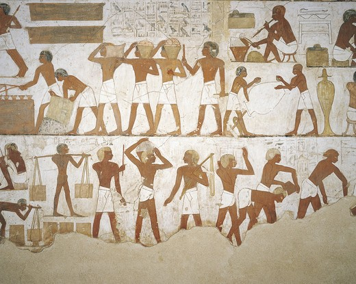 Stock Photo: 1788-10847 Egypt, Thebes, Luxor, Sheikh 'Abd al-Qurna, Tomb of city governor and vizier Rekhmire, Burial chamber, Mural paintings, Craftsmen