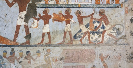 Stock Photo: 1788-10867 Egypt, Thebes, Luxor, Sheikh 'Abd al-Qurna, Tomb of standard-bearer of pharaoh Pehsukher, Mural paintings, Butchery