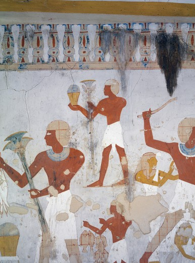 Egypt, Thebes, Luxor, Sheikh 'Abd al-Qurna, Tomb of royal cupbearer Suemnut, Mural paintings, Hunting scenes and votive offerings : Stock Photo