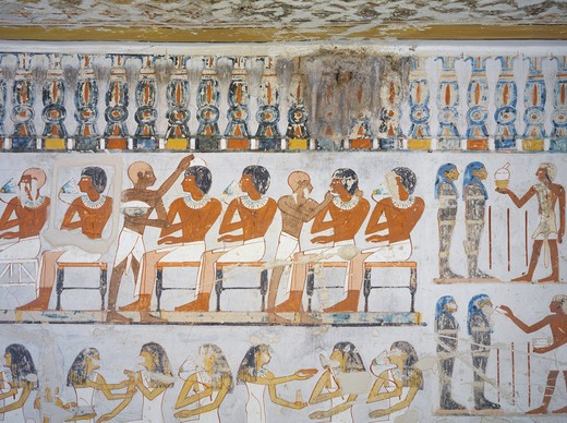 Stock Photo: 1788-10887 Egypt, Thebes, Luxor, Sheikh 'Abd al-Qurna, Tomb of royal cupbearer Suemnut, Mural paintings