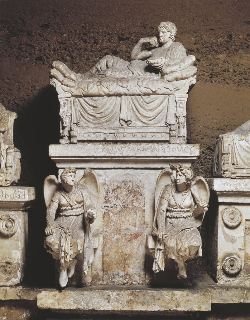 Stock Photo: 1788-1089 Italy - Umbria Region - Perugia - Hypogeum of the Velimna Family (Etruscan chamber tomb, 3td-2nd century b.C.)