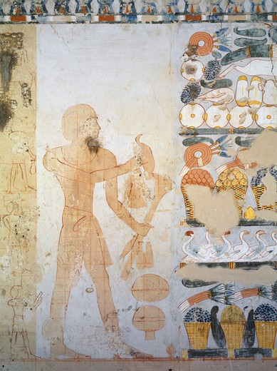 Egypt, Thebes, Luxor, Sheikh 'Abd al-Qurna, Tomb of royal cupbearer Suemnut, Mural paintings, Votive offerings : Stock Photo