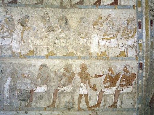 Egypt, Thebes, Luxor, Sheikh 'Abd al-Qurna, Tomb of army commander Amenemheb Meh, Mural painting depicting votive offerings : Stock Photo