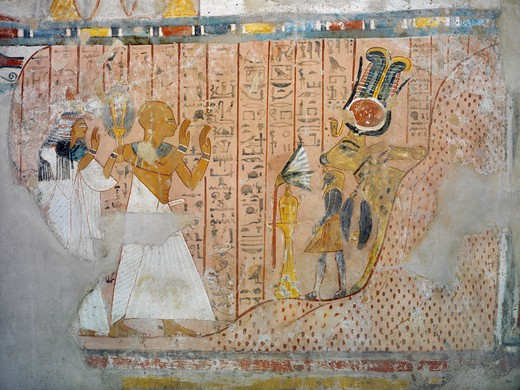 Stock Photo: 1788-10924 Egypt, Thebes, Luxor, Sheikh 'Abd al-Qurna, Tomb of head of altar at Ramesseum Nakhtamun, Mural painting depicting divinity