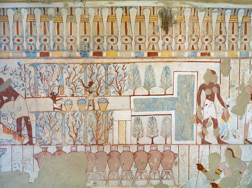 Egypt, Thebes, Luxor, Sheikh 'Abd al-Qurna, Tomb of city police captain Nebamun, mural paintings from eighteenth dynasty : Stock Photo