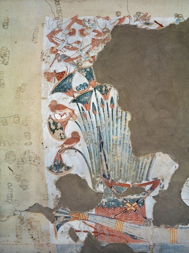 Egypt, Thebes, Luxor, Sheikh 'Abd al-Qurna, Tomb of scribe of recruits Horemheb, mural paintings of papyrus plants and birds from eighteenth dynasty : Stock Photo