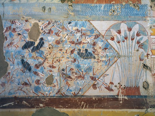 Stock Photo: 1788-10968 Egypt, Thebes, Luxor, Sheikh 'Abd al-Qurna, Tomb of scribe of recruits Horemheb, mural paintings of papyrus plants and birds from eighteenth dynasty