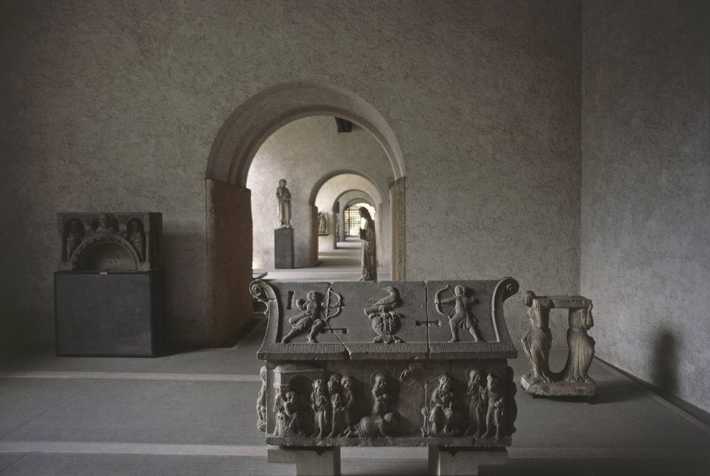 Stock Photo: 1788-1098 Stone sculptures in a room - Italy - Veneto Region - Verona - Castelvecchio Museum