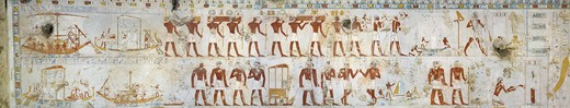 Egypt, Thebes, Luxor, Sheikh 'Abd al-Qurna, Tomb of scribe and granary accountant at Amon's estate Amenemhat, mural paintings of Pilgrimage to Abydos from eighteenth dynasty : Stock Photo