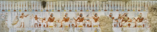 Stock Photo: 1788-11006 Egypt, Thebes, Luxor, Sheikh 'Abd al-Qurna, Tomb of scribe and granary accountant at Amon's estate Amenemhat, mural paintings of votive offerings from eighteenth dynasty