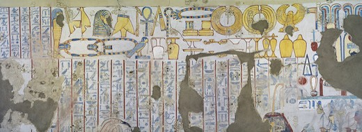 Egypt, Thebes, Luxor, Sheikh 'Abd al-Qurna, Tomb of scribe of recruits Horemheb, mural paintings of votive offerings from eighteenth dynasty : Stock Photo