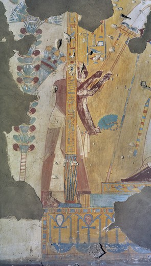 Egypt, Thebes, Luxor, Sheikh 'Abd al-Qurna, Tomb of scribe of recruits Horemheb, mural painting from eighteenth dynasty : Stock Photo